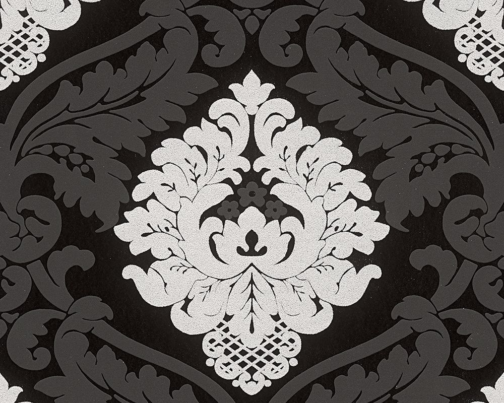Tapetenmuster schwarz weiß grau  Schwarz-weiße Bling Bling Tapete mit Glitzer von A.S. Création ...