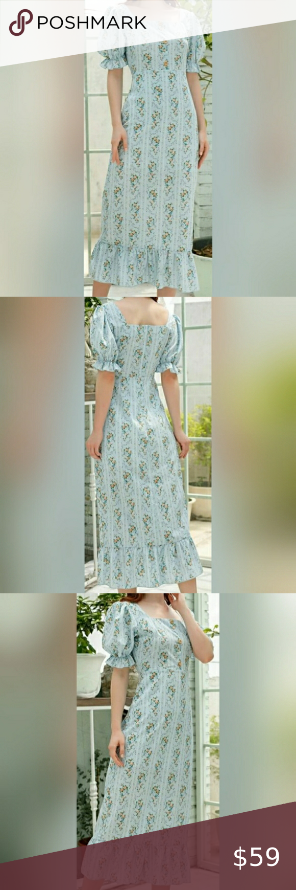 New Vintage Square Neck Floral Ruffle Hem Dress In 2020 Flowy Dress Boho Lace White Dress Satin Wrap Dress [ 1740 x 580 Pixel ]