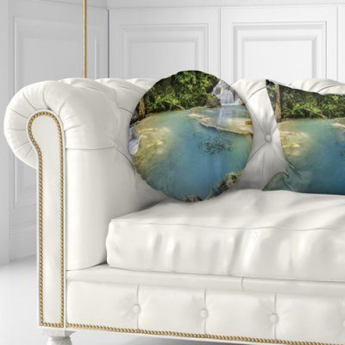 East Urban Home Landscape Photography Erawan Waterfall Throw Pillow Size Landscapephotography Lands In 2020 Throw Pillows Indoor Throw Pillows Country Throw Pillows
