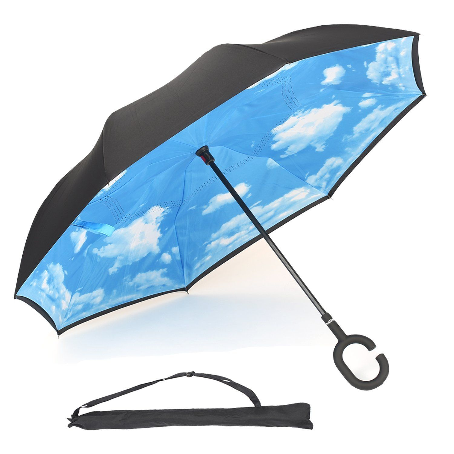 Unamela Inverted Umbrella Double Layer Windproof Stand Self Straight Reverse Folding With