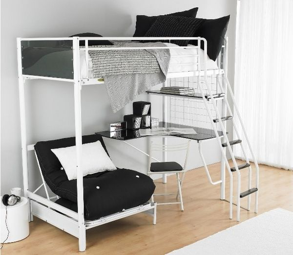 Charmant Girls Loft Bed With Desk | Functional Teen Room Furniture Ideas U2013 Metal Bunk  Bed And Desk Combo