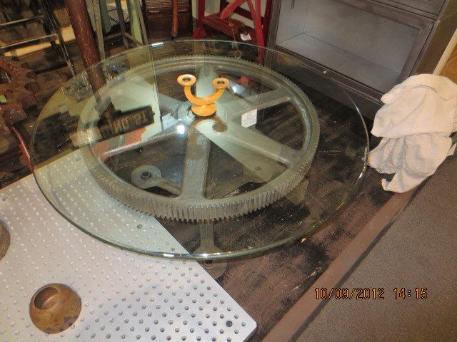 Round Industrial Gear Coffee Table With Glass Top Bad Picture But Nice Table Kyle Danielle