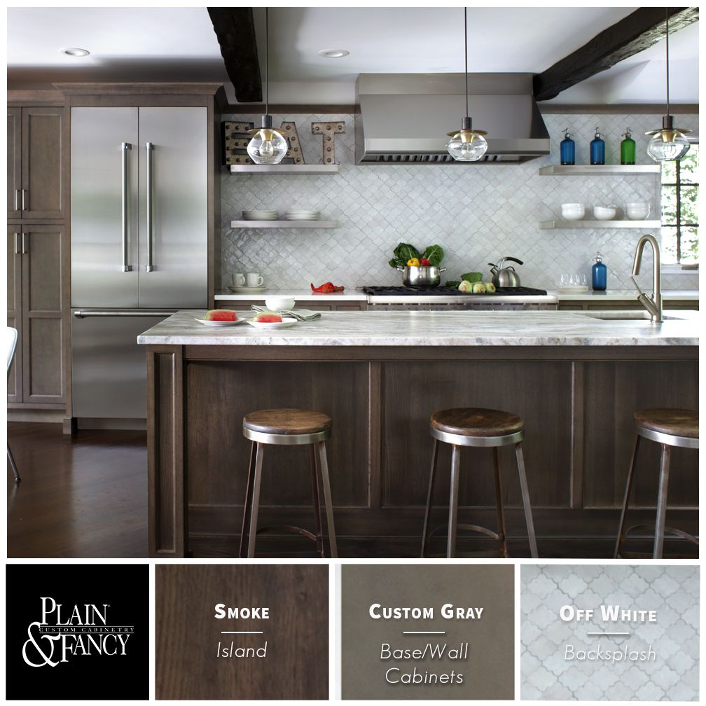 This kitchen color palette mixes warm gray stains and ...