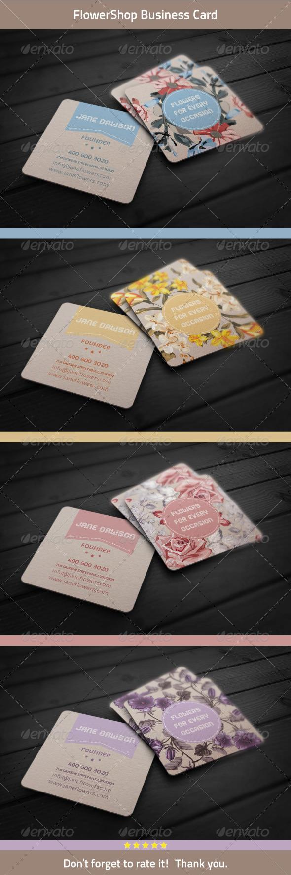Flower shop business card flower shops business cards and business reheart Gallery
