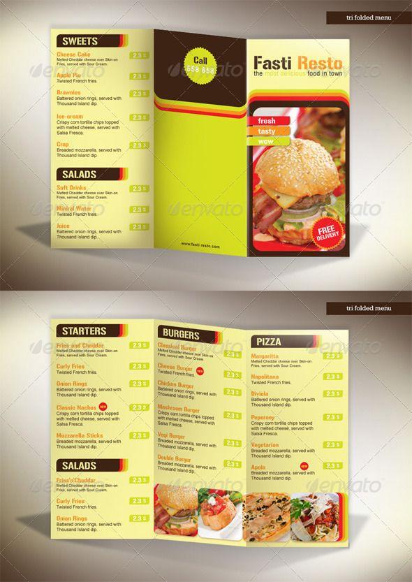 tri fold menu fasti resto food menus print templates download here