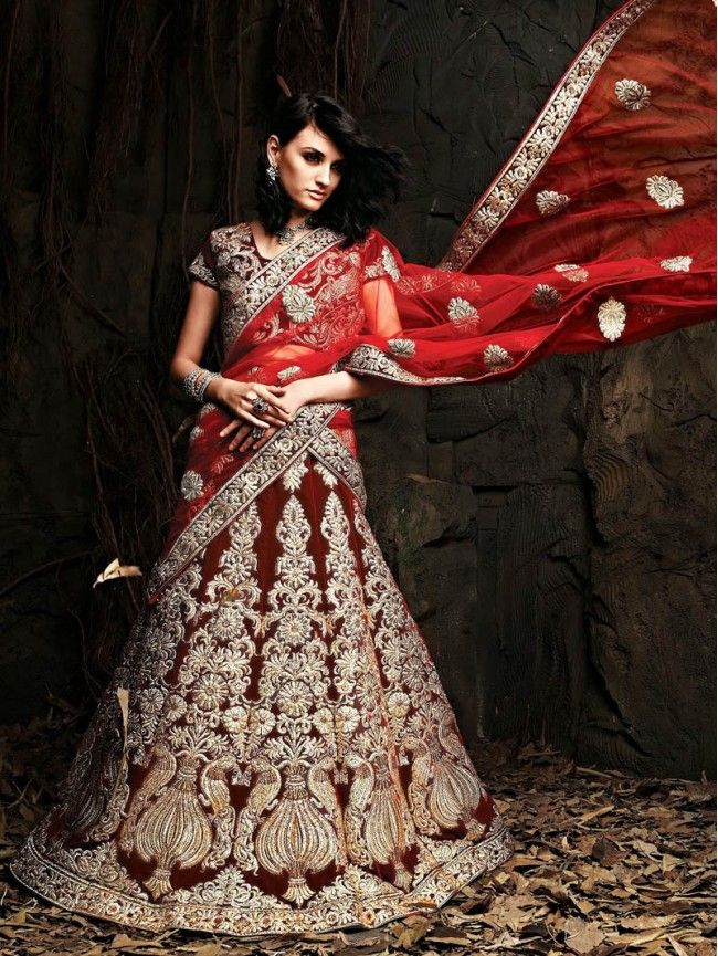 2401be26cf Red with Silver Heavy Embroidery Bridal Lehenga Choli Dupatta ...