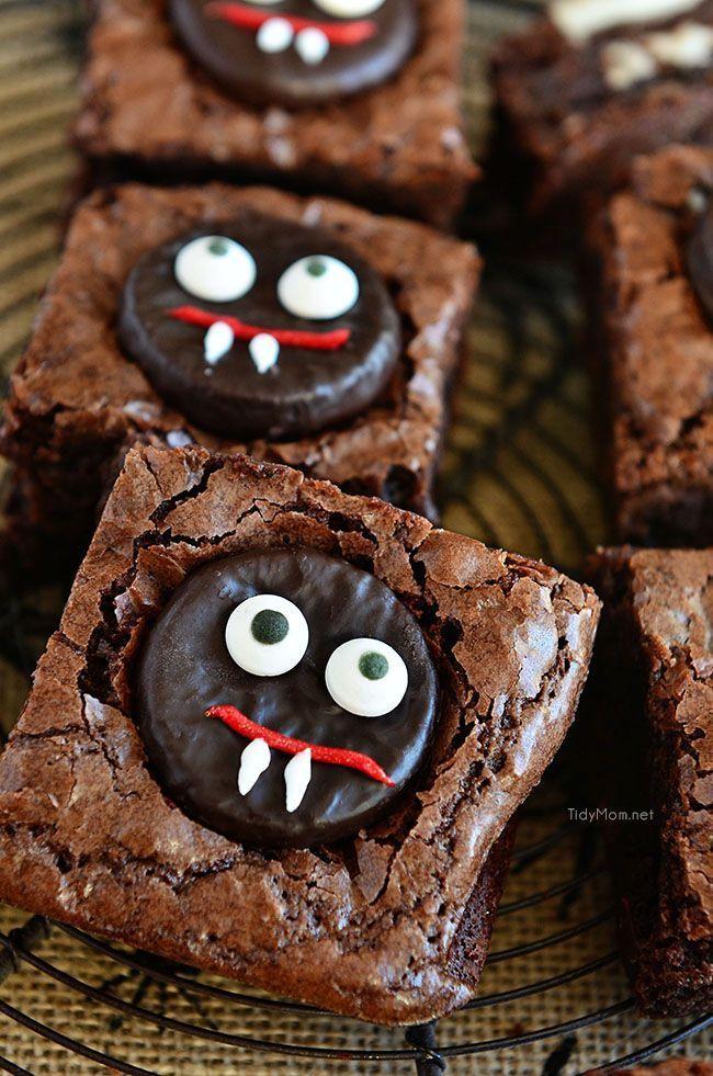 Mint Vampire Brownies Brownies, Halloween parties and Food - cute easy halloween treat ideas