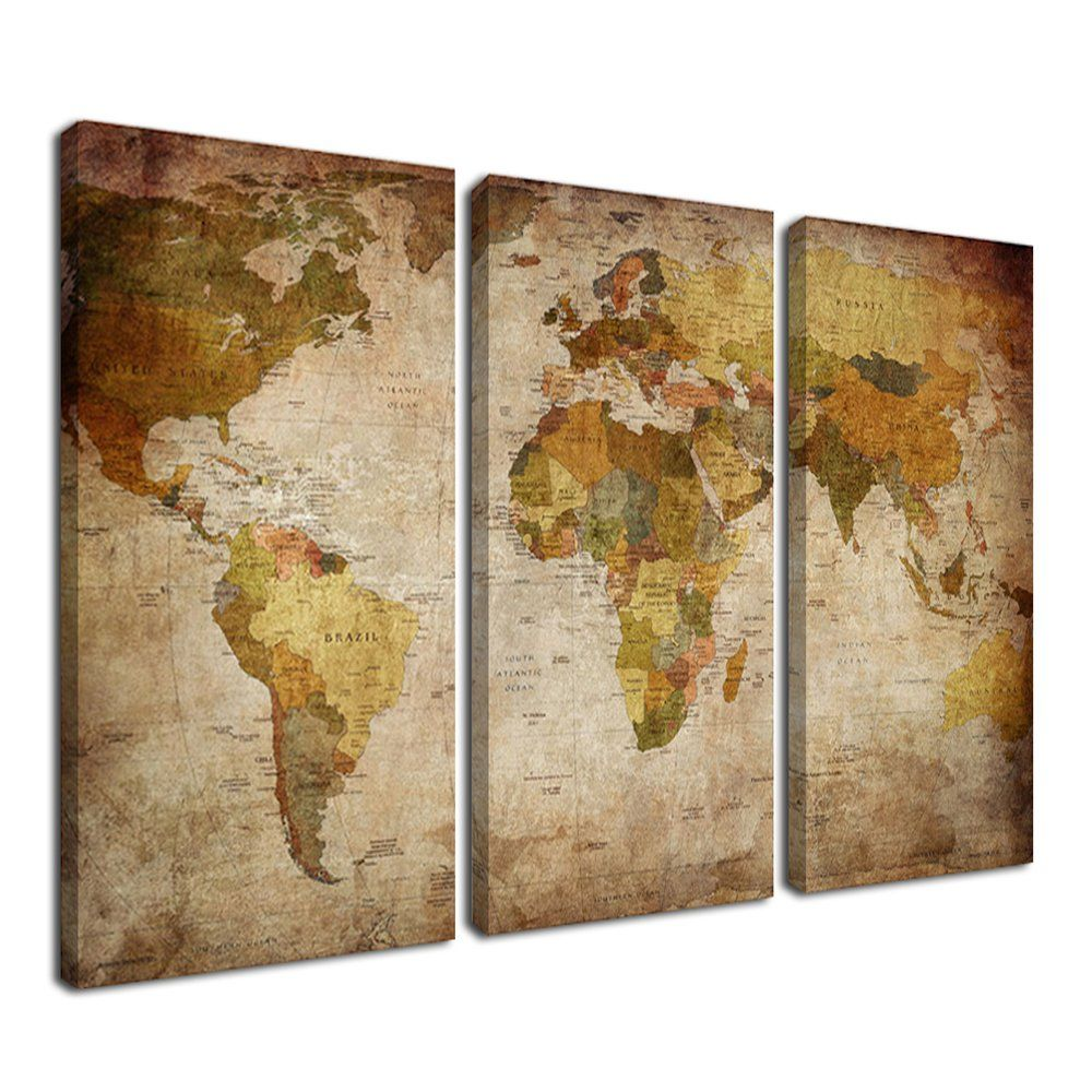 Ardemy canvas art prints retro abstract beige world map xinches