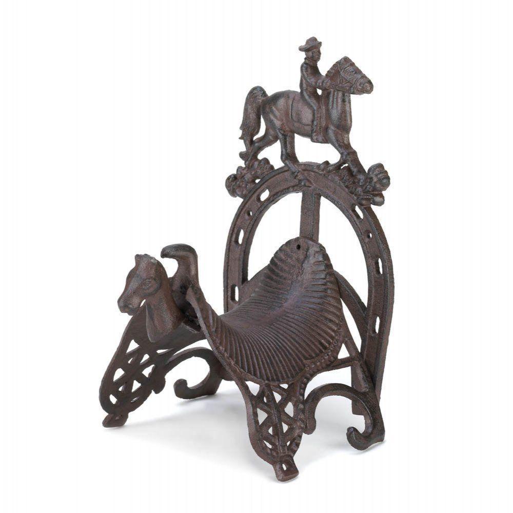 Western Garden Reel Cast Iron Cowboy Horse Saddle Hose Holder Outdoor  Decoration #HomeLocomotion