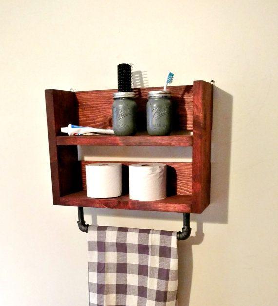 Rustic Industrial Bathroom Shelf Towel Rack by TwinOakRustics