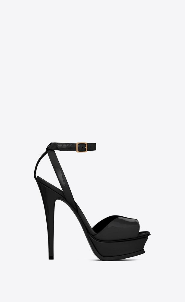 ac0d3e65650f SAINT LAURENT Tribute Woman TRIBUTE 105 sandals with open toes in black  patent leather a V4