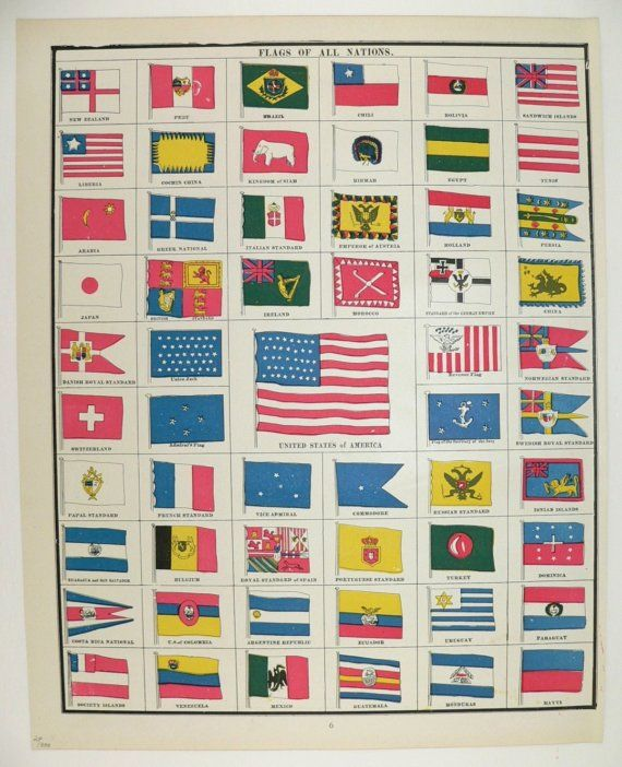 1888 Antique Color Print of National Flags Standards and US Time