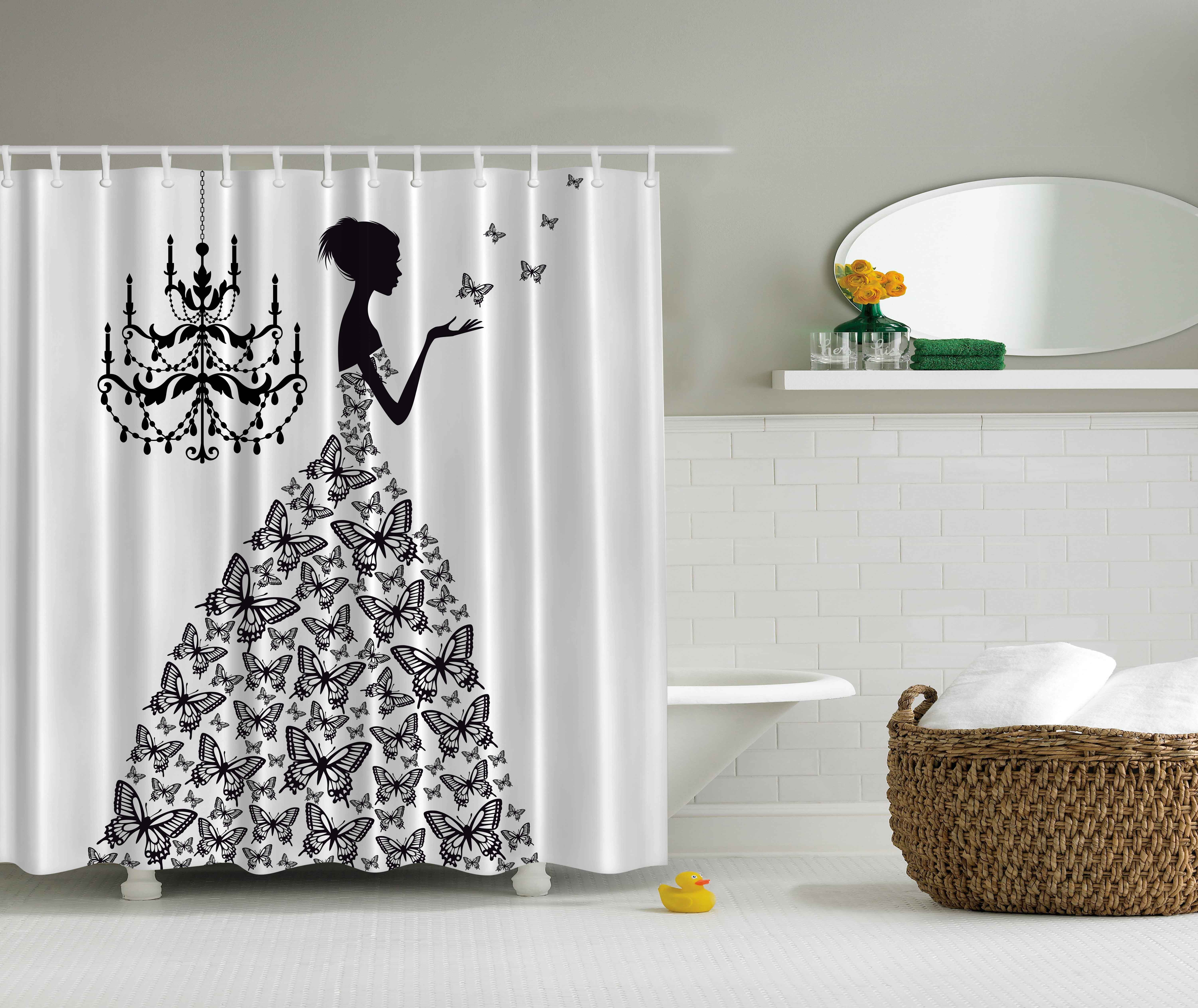 Ambesonne Fantasy Decor Collection, Classic Chandelier Woman In Butterfly  Dress Silhouette Artwork Print, Polyester · Long Shower CurtainsFabric ...