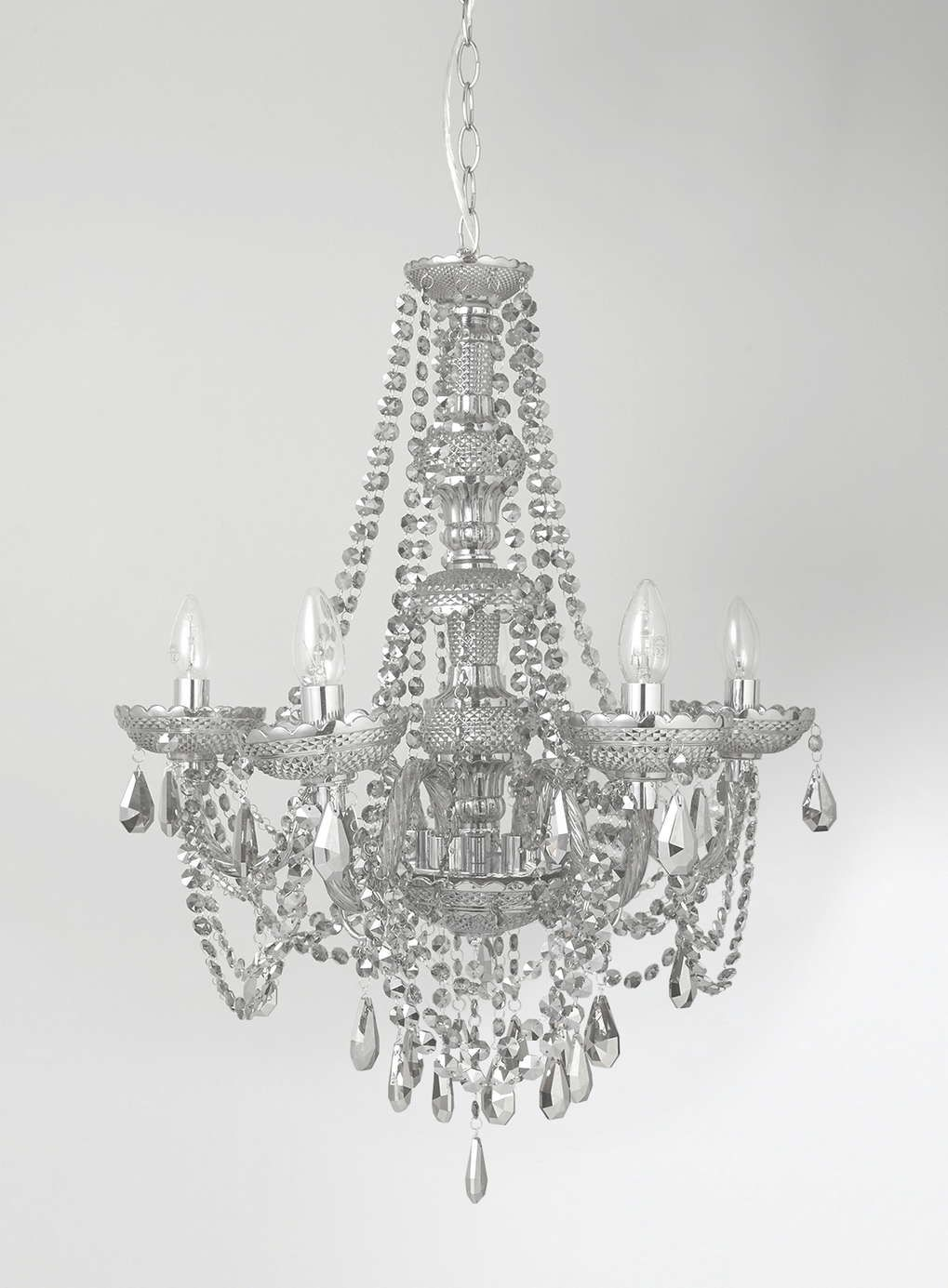 Holly Willoughby Smoke 6 Light Glass Chandelier