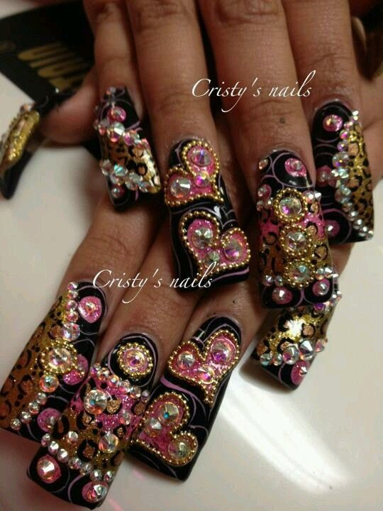 Classic Pink Black And White Nail Art Design Featuring Sheba Nails
