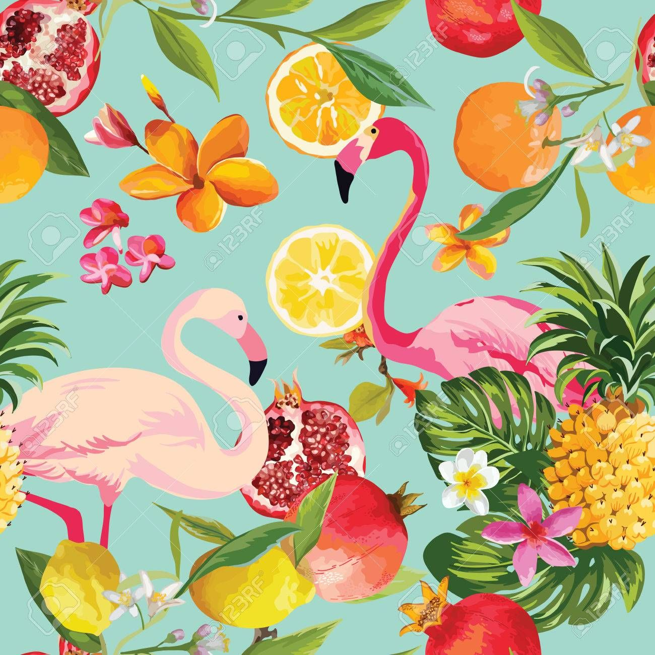 Seamless Tropical Fruits and Flamingo Pattern in Vector. Pomegranate, Lemon, Ora...
