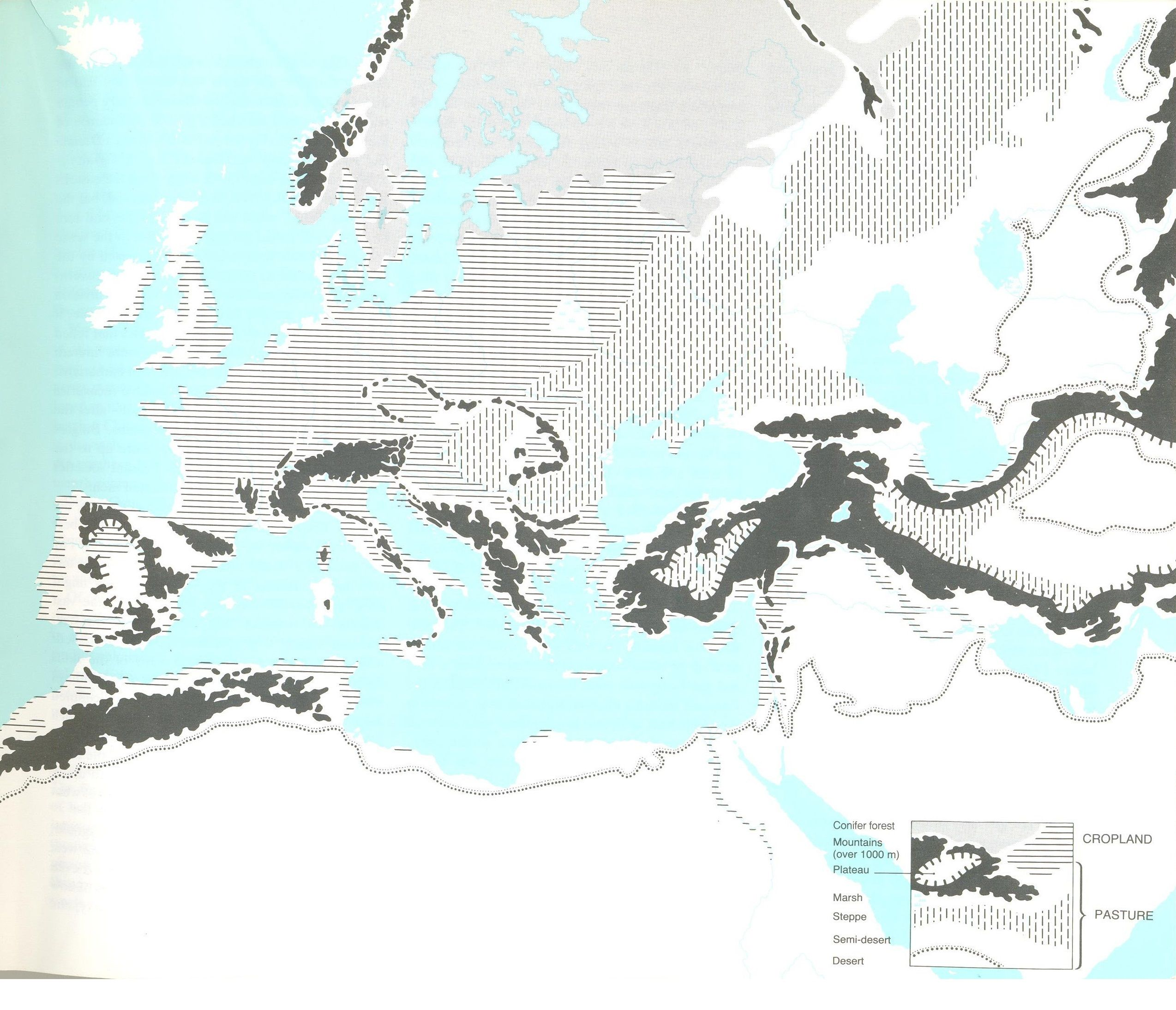 The terrain of Europe and the Middle
