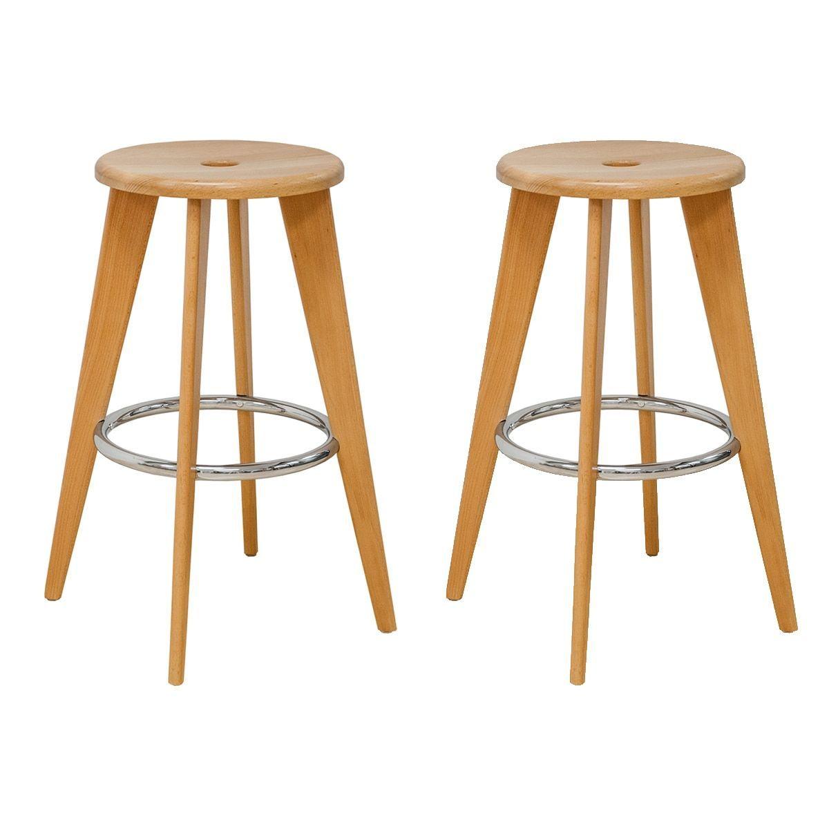 Peachy Mod Made Skylark Wooden 29 Inch High Bar Stools With Chrome Dailytribune Chair Design For Home Dailytribuneorg