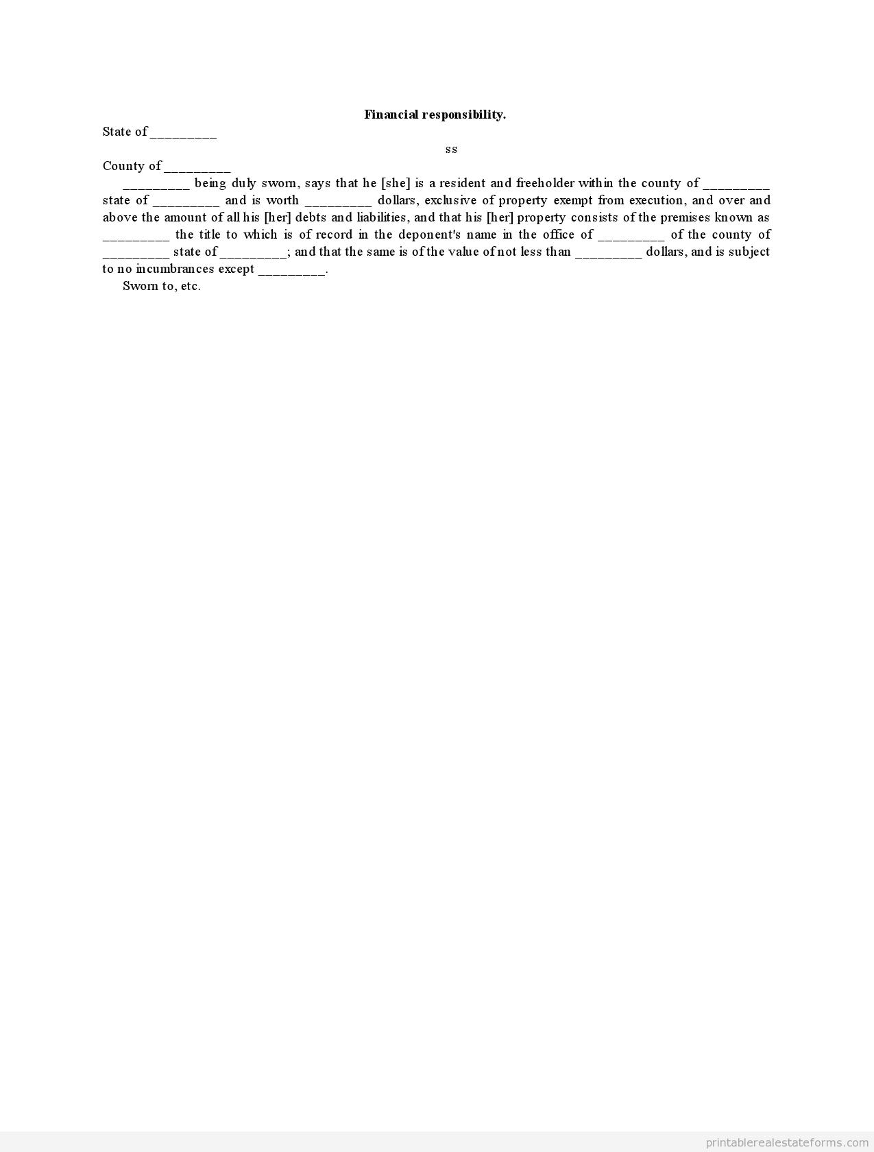 Sample Printable Financial Responsibility Form
