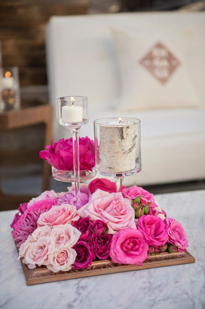 Rustic Short Wedding Centerpiece With Pink Roses And Candles Diy Fl Arrangement Bridal Flowers