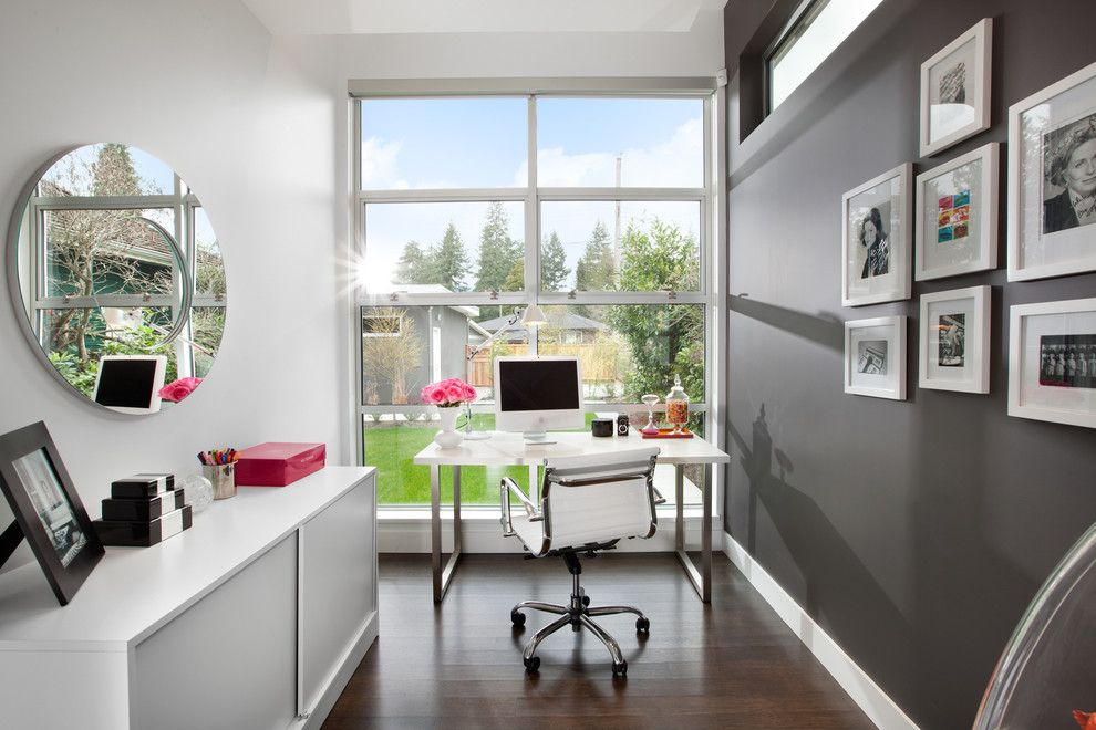 Small home office with a cool gray