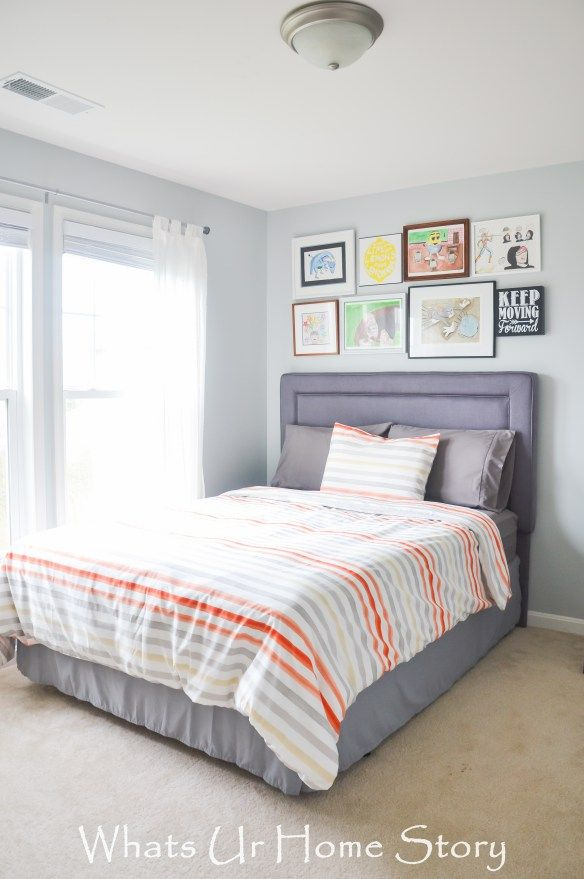 Teen boy bedroom decor in blue gray