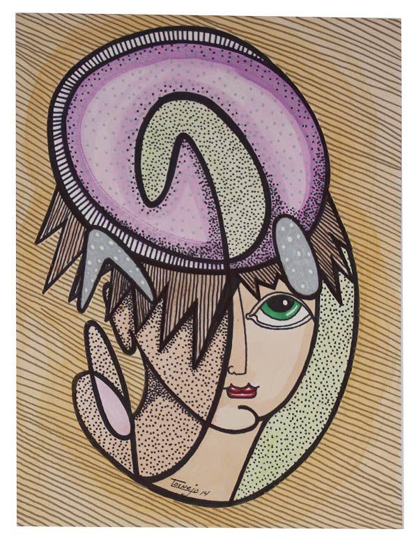 Dibujo M-13 -  #Acuarela, #Amarillo, #Arte, #BlancNoise, #Lila, #Ojo, #Teresa_Cornejo, #Tinta, #Verde