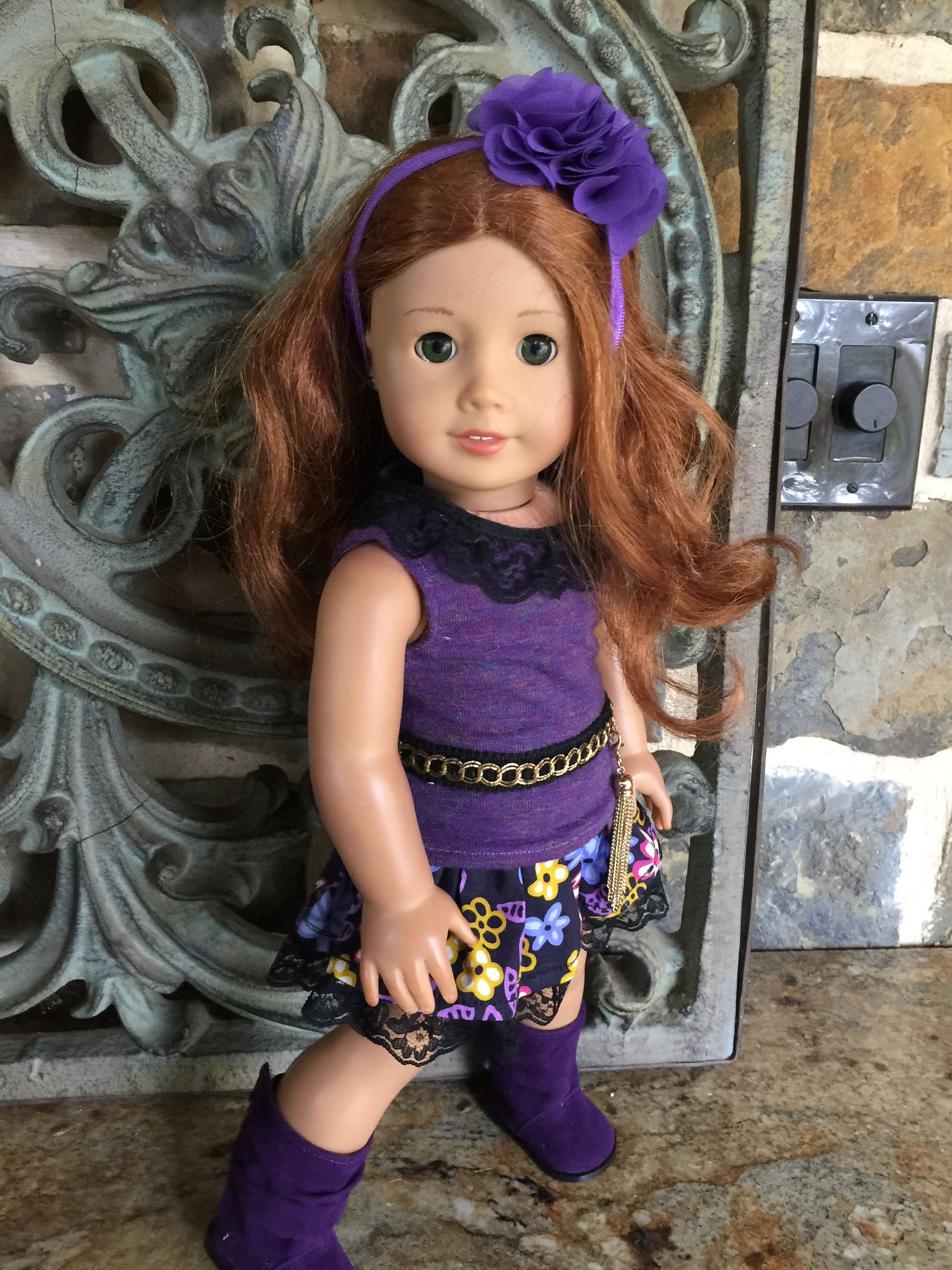 18 inch doll clothes made to fit dolls like the American Girl Doll-Purple top-floral skirt-headband-boots #18inchdollsandclothes