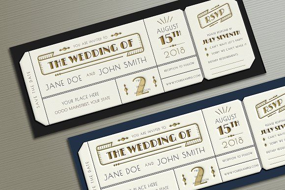 Art Deco Wedding Invitation Ticket by Vynetta on @creativemarket - invitation ticket