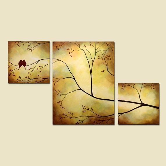 Canvas Painting Birds in Tree Branch por ContemporaryEarthArt ...