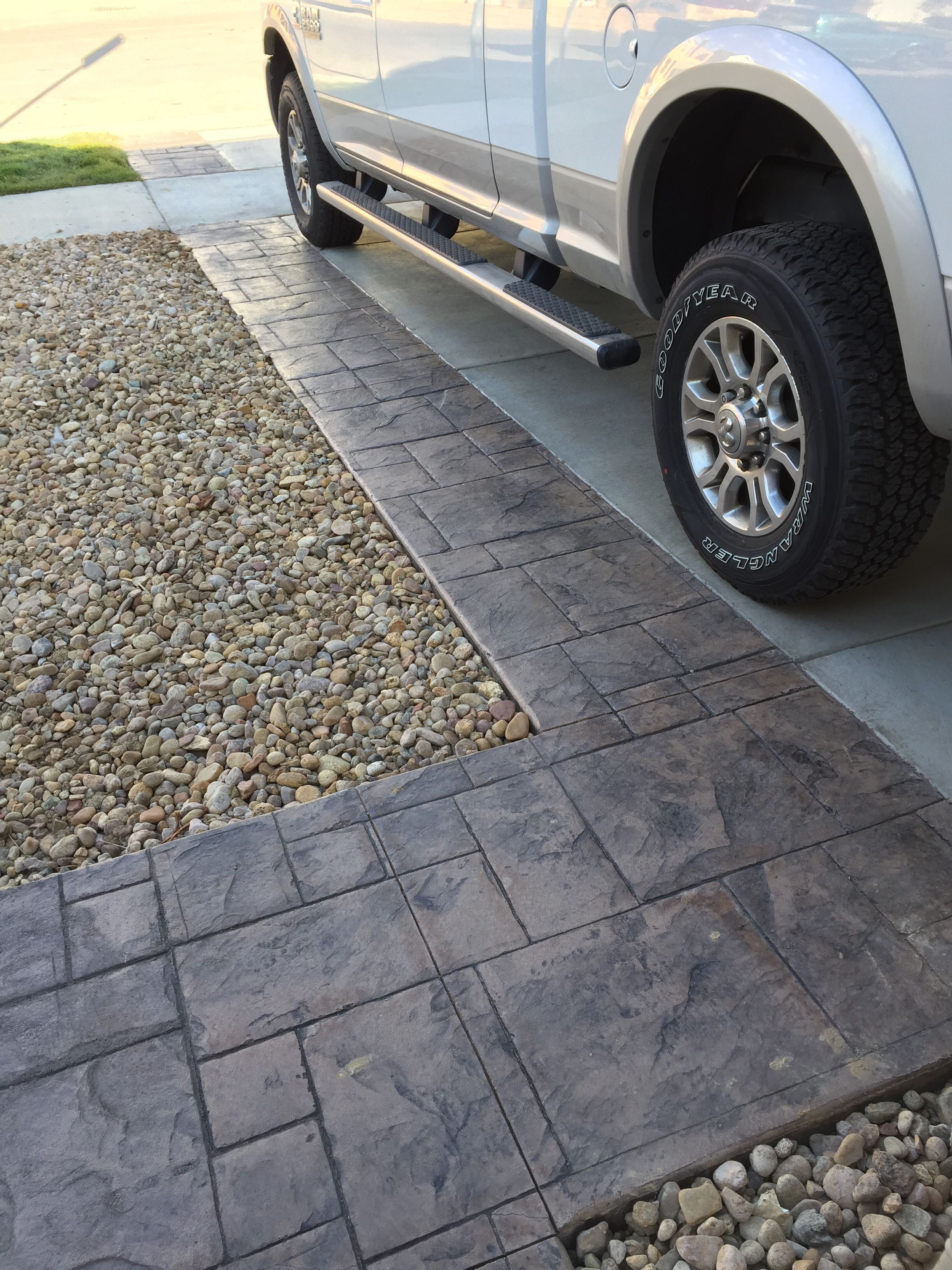 Driveway Extension In Grand Ashlar Stamped Concrete With