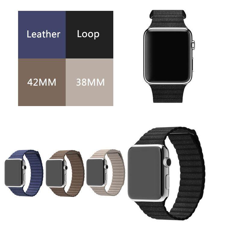 대한 apple watch 가죽 루프 줄 milanese 자기 루프 가죽 42 미리메터 스트랩 원래 정품 가죽 iwatch 밴드