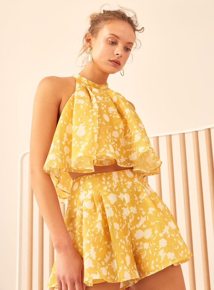 99b1b109b39 C MEO Collective Love Hate Short – Yellow Floral
