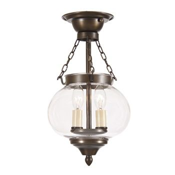 Two light small semi flush onion lantern