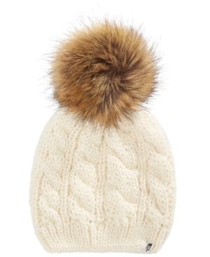 386c0db7be2 The North Face Big Girls Cable-Knit Hat with Faux-Fur Pom-Pom - White