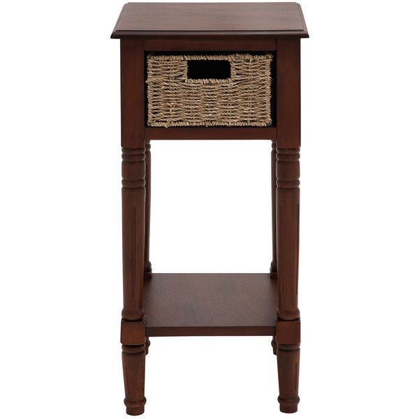 Casa Cortes Portmand Handcrafted Wood Burlap Basket End Accent Table 112 Liked On Polyvore Featuring Home Furniture Tables Brown
