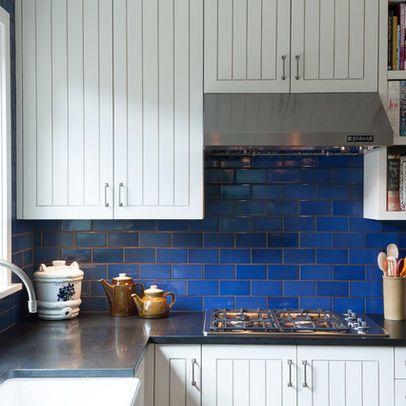 Blue Tile Grey Grout I Like The Darker Grout Kitchen Remodel