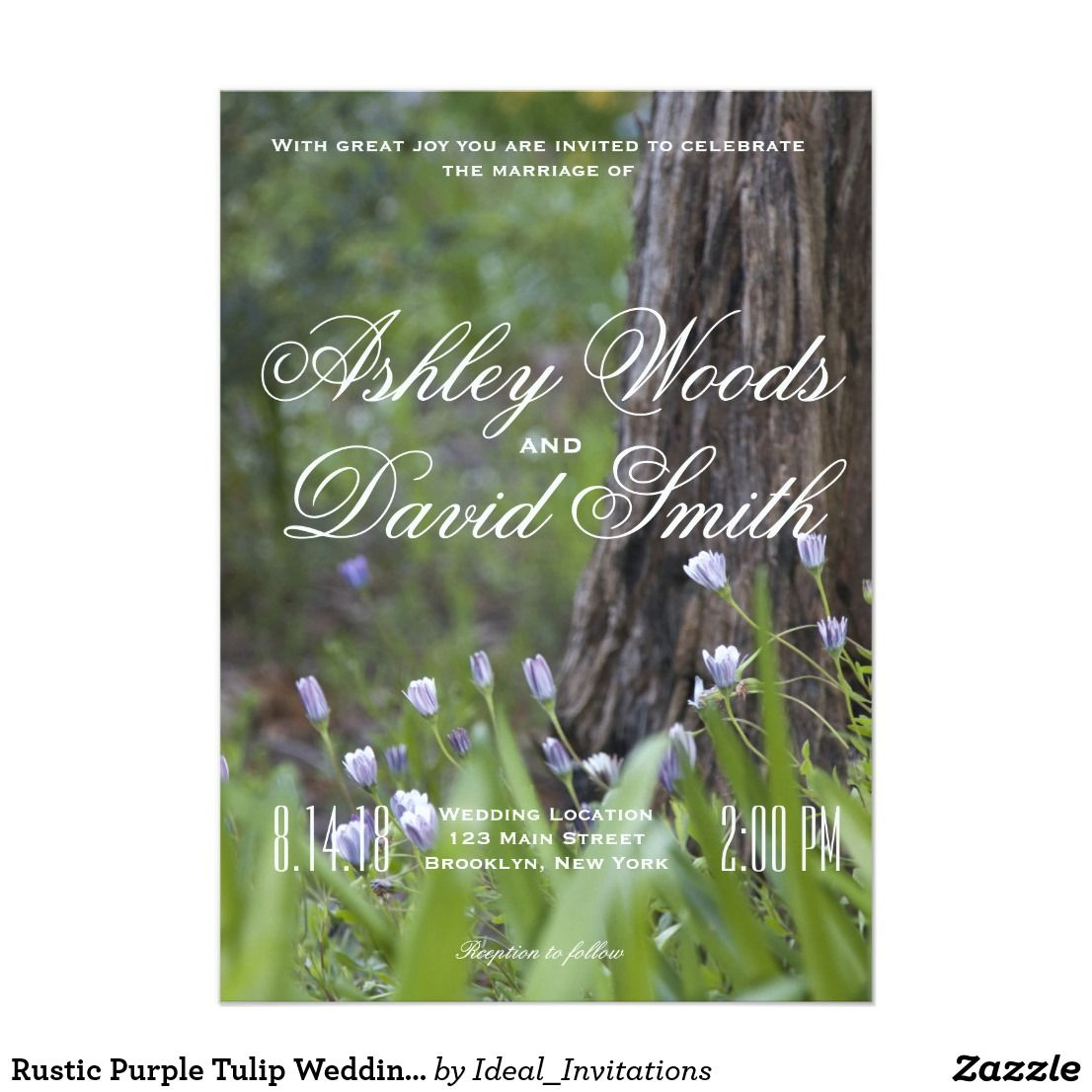 wedding invitation content marriage%0A Rustic Purple Tulip Wedding Invitation