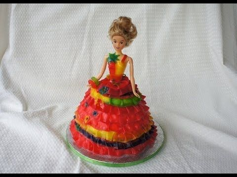How to make a barbie cake - Doll cake - using fruit roll ...