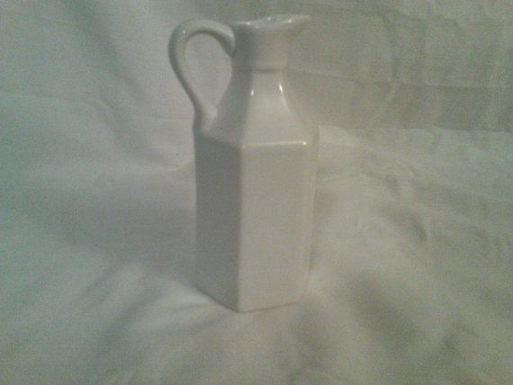 White Mini Pitcher by Xcell Made in China 5 1/2 tall by CraftBinge, $12.99