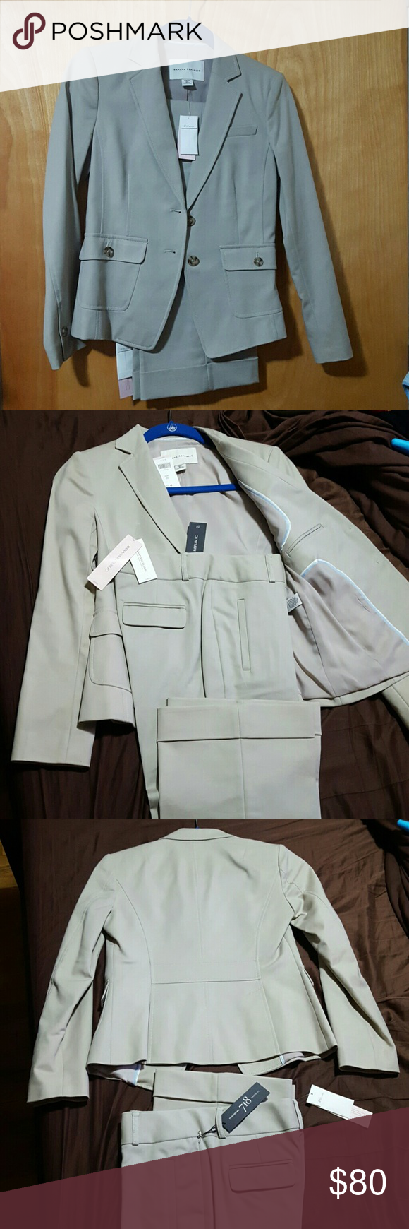 Banana Republic pant suit size 2P NWT Brand new with tags. Stretchy. Color is a greyishz beige. Banana Republic Other
