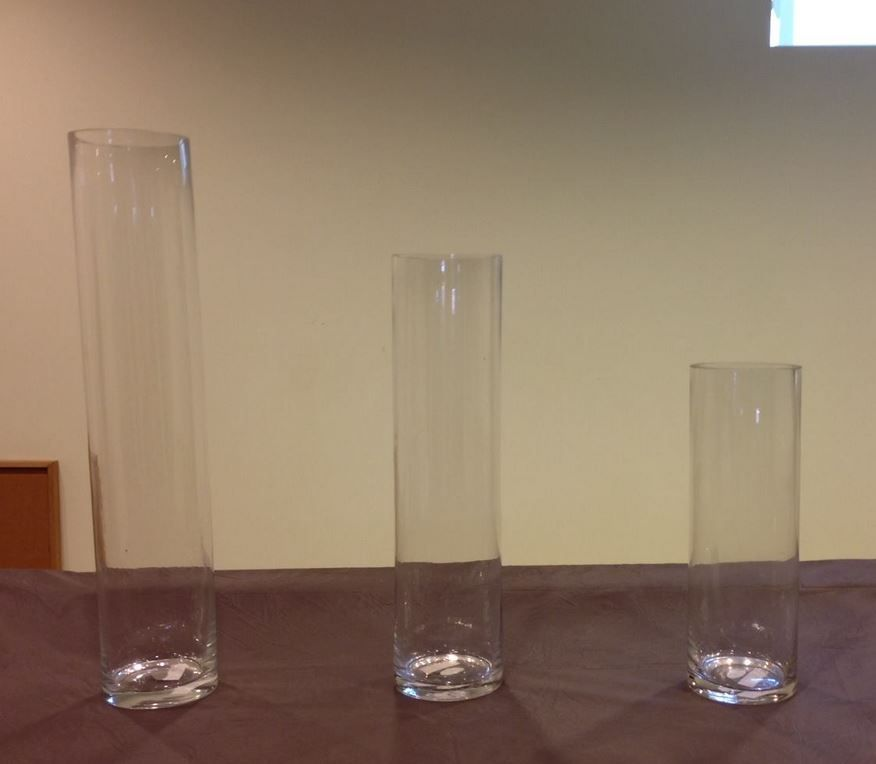 """Vases bought already: 20"""" Cylinder Vase - 12 pieces 16"""" Cylinder Vase - 16 pieces  12"""" Cylinder Vase - 20 pieces"""