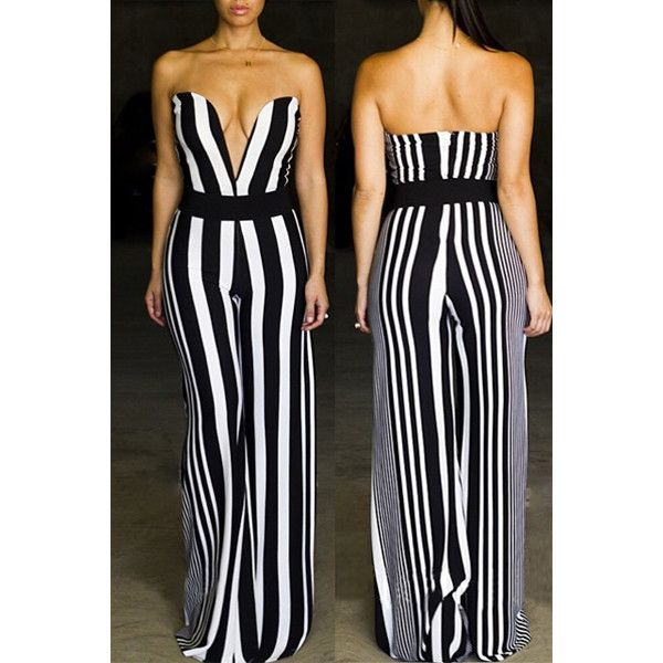 ffcf5e7a4d2 Sexy Strapless Striped Wide Leg Jumpsuit For Women ( 22) ❤ liked on  Polyvore featuring jumpsuits