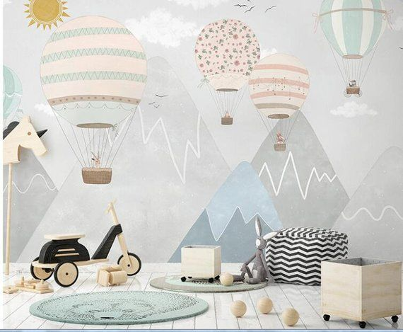 Handpainted Nursery Children's Hot Air Balloon Wallpaper