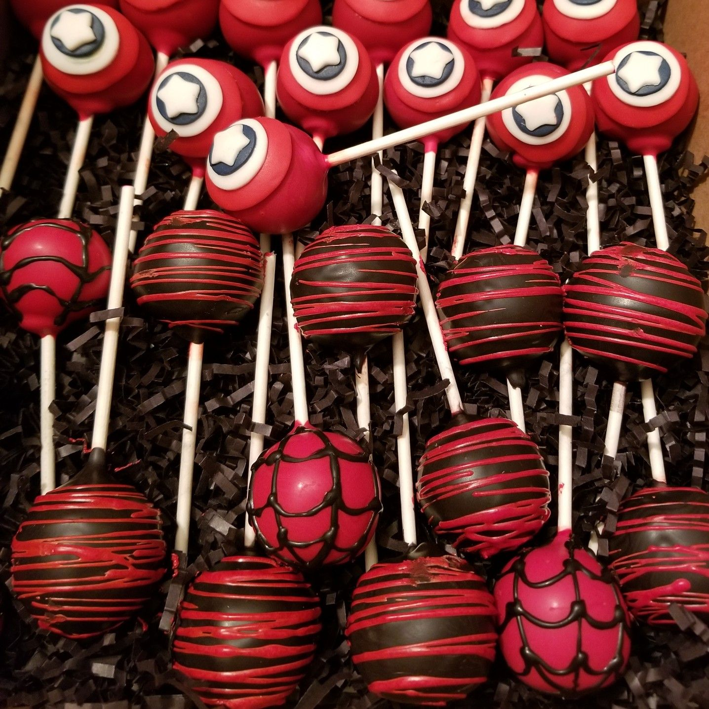 Captain america and spiderman cake pops spiderman cake