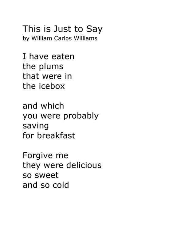Heres The Original Poem William Carlos Williams Famous