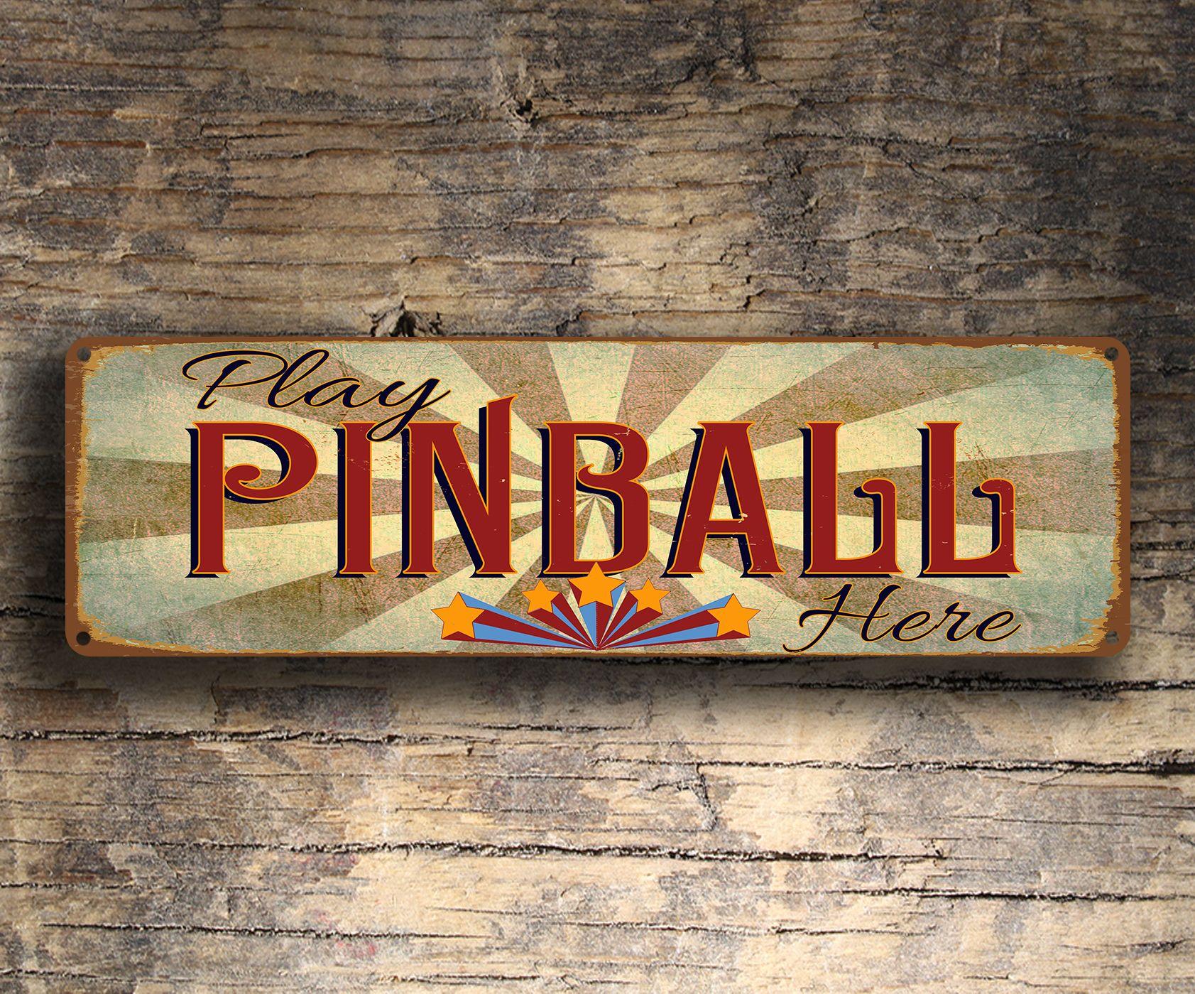 Play Pinball Here Sign Pinball Signs Room signs