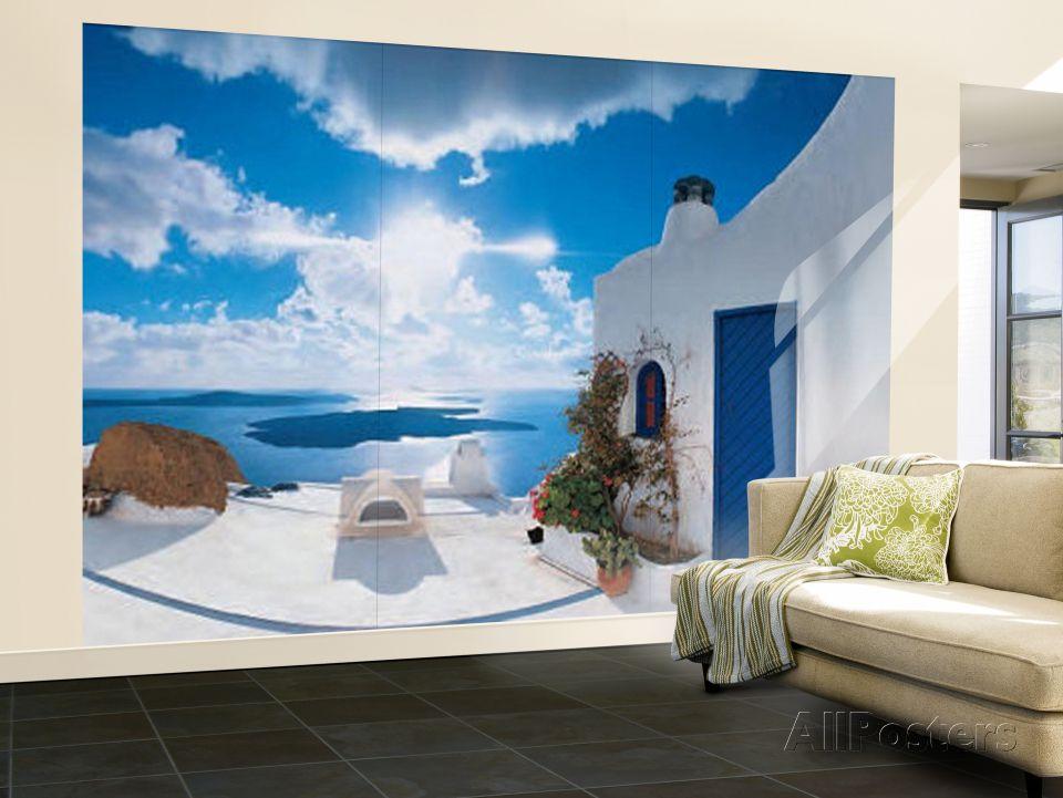 Santorini Sunset Huge Wall Mural Art Print