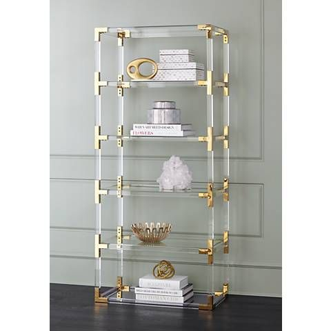 hanna 70 3 4 clear acrylic and gold 6 shelf open bookcase in 2019 rh pinterest com