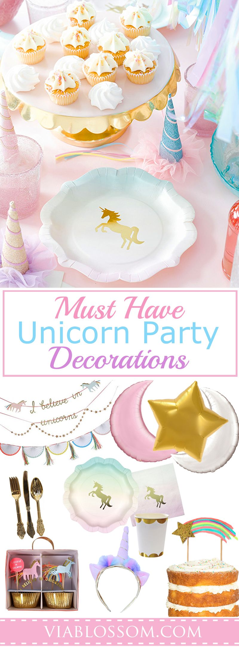 You will love our must have Unicorn Party Decorations for a magical girl birthday party!  All the Unicorn Party Ideas in one place for easy party planning!